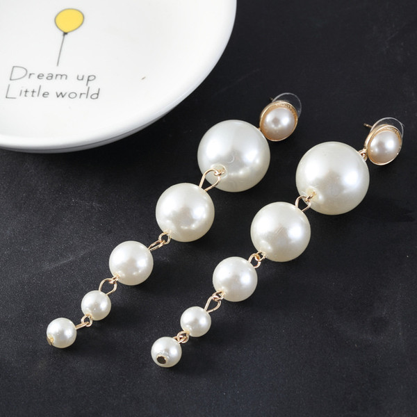 fashion elegant simulation long pearl earrings drop thread itself for the wedding party Simple temperament pendant personality