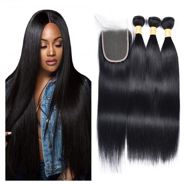 Jet Black 1# Color Straight Body Wave Human Hair Weave 3 Bundles With Lace Closure Brazilian Remy Human Hair Extensions
