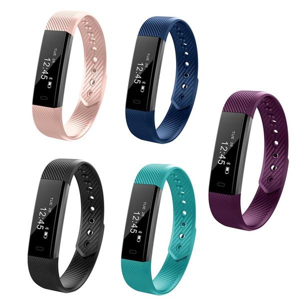 Hot ID115 Smart Bracelets Fitness Tracker Step Counter Activity Monitor Band Alarm Clock Vibration Heart rate monitoring Wristband free dhl