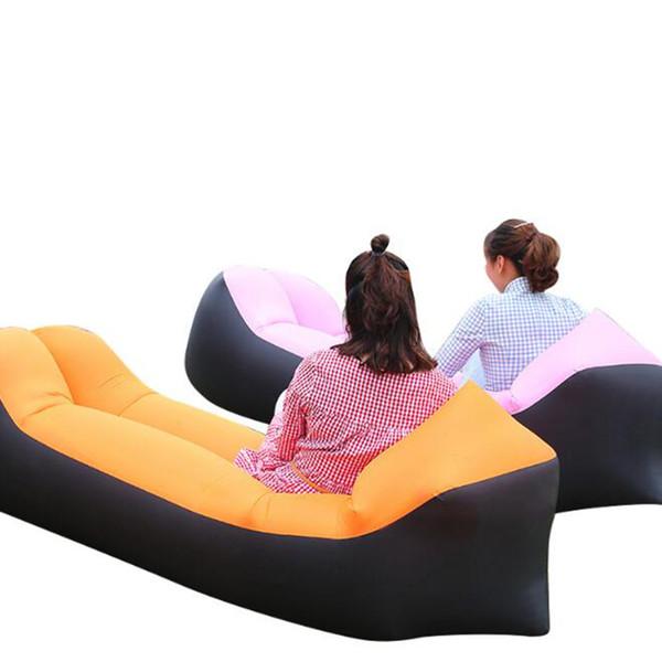 2019 Красочный Свет спальный мешок Водонепроницаемый Надувной мешок ленивый диван отдых на природе Спальные мешки надувная кровать Взрослый Пляжный Шезлонг Быстро Складной