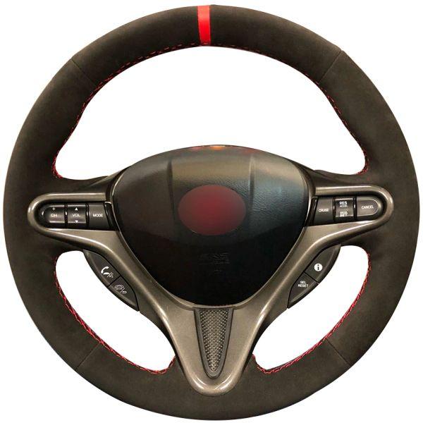 Black Suede Red Marker Car Steering Wheel Cover for Honda Civic Civic 8 2006-2009 (3-Spoke)