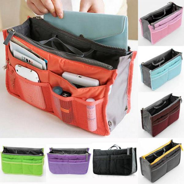 Legen Sie Handtasche Handtasche Organizer Dual Bag In Tasche Make-up Kosmetiktasche Ordentlich Reise Aufbewahrungsbeutel Verschiedene MP3 / Mp4 Taschen Beutel Tote MMA1389