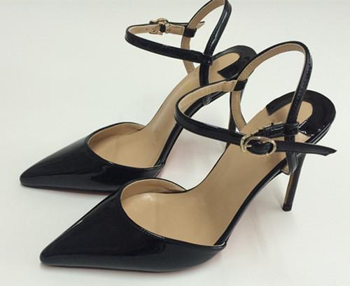 Sıcak Satış-patent deri Sivri Burun kırmızı alt Yüksek topuklu ayakkabılar kadın slingback bayanlar Toka Askı Parti Düğün stilettos a ...