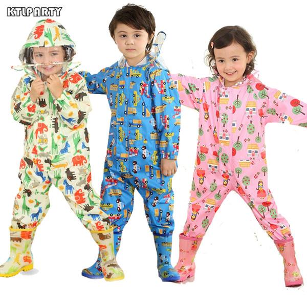 Ktlparty Cartoon Raincoat Kids Jumpsuit Rainwear Raincover For Children Baby Boy Girl Waterproof Poncho Star Rain Coat Q190603
