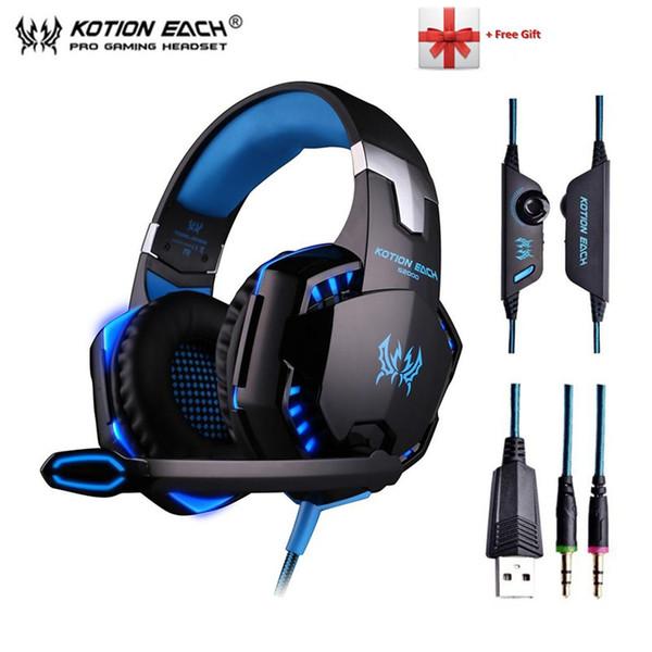 KOTION EACH G2000 G9000 Gaming Headphones Gamer Auriculares Estéreo Auriculares con bajos profundos con cable y luz LED para micrófono para PC PS4 X-BOX
