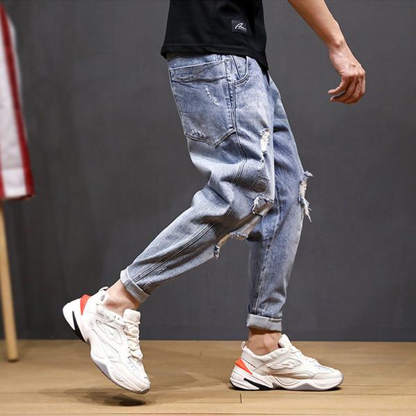 Frühling Sommer Mode Männer Jeans Blau Farbe Loose Fit Destroyed Ripped Jeans Kleine Bein Pluderhosen Streetwear Hip Hop Männer