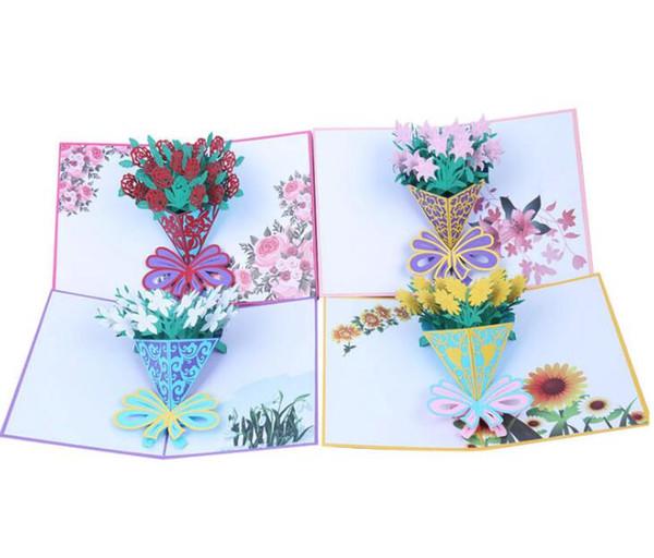 Pop-up-Karten der Blume 3D Rose Lily Sunflower Valentine Lover Happy Birthday Jubiläum Grußkarten für Geburtstag Valentine Holiday