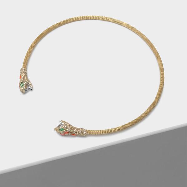 wholesale Cubic zirconia serpentine opening fashion animal neck hoop