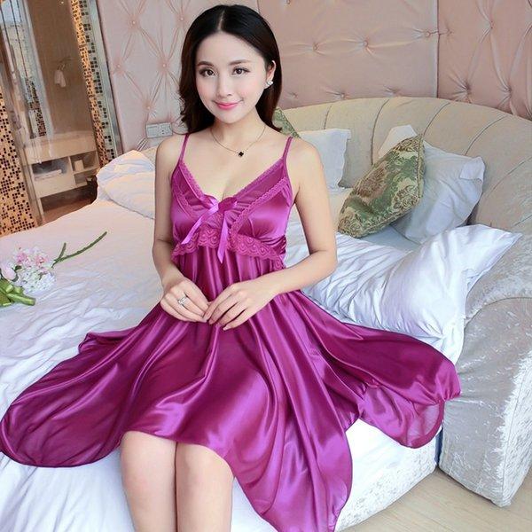 Home Service Sommer Satin Nachtwäsche Frauen Lace Nachthemd Nachtkleider reizvolle heiße Wäsche-Spitze mit V-Ausschnitt Nachtkleid Unterwäsche