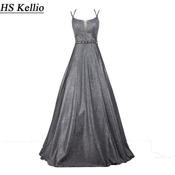 HS Kellio Gray Aline Evening Dress Floor Length Spaghetti Strap Beaded Belt Birthday Party Gown For Girls