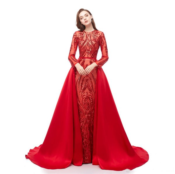 New Design Arabian Mermaid Prom Dresses Red/Gold/Royal blue Long Sleeves Sequined Lace With Detachable Train Plus Size Evening Party Gowns