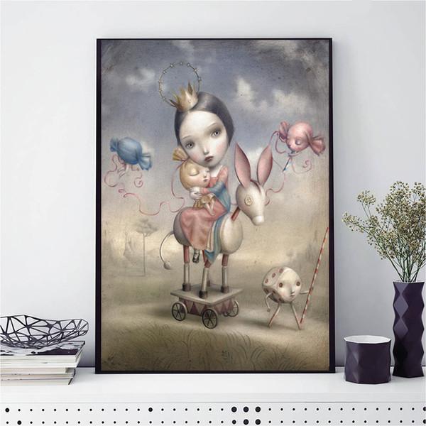 Compre Nicoletta Ceccoli Juega Conmigo Hd Pintura De La Lona Pintura Al óleo Enmarcada Arte De La Pared Imprimir Imágenes Para La Sala De Estar