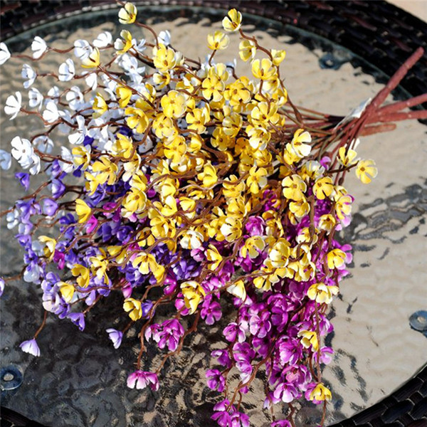 Flores artificiales de seda flor del ciruelo para la decoración casera Las flores falsas sin el florero para el festival de la boda del partido