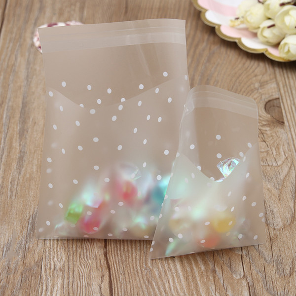 100pcs White Dots Transparent Frosted OPP Plastic Bag Cookie Candy Packaging Bag Pouch Box Self Adhesive Seal Storage Bags