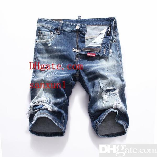 Pantaloncini denim d2 designer italiani di marca maschile casual casual jeans hip-hop colorati retrò a mano jeans oversize 28-38