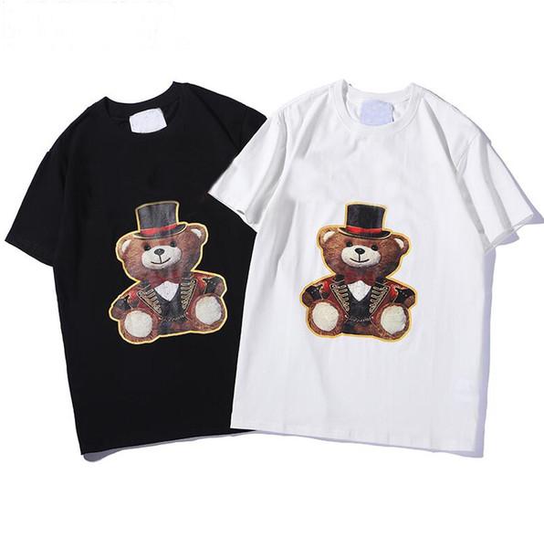 Lüks Tasarımcı Erkekler için T Gömlek Moda 2019 Tees ile Hayvan Mektuplar Printted Yaz Kısa Kollu Tee Gömlek Tops Giyim 2 Stilleri S-2XL