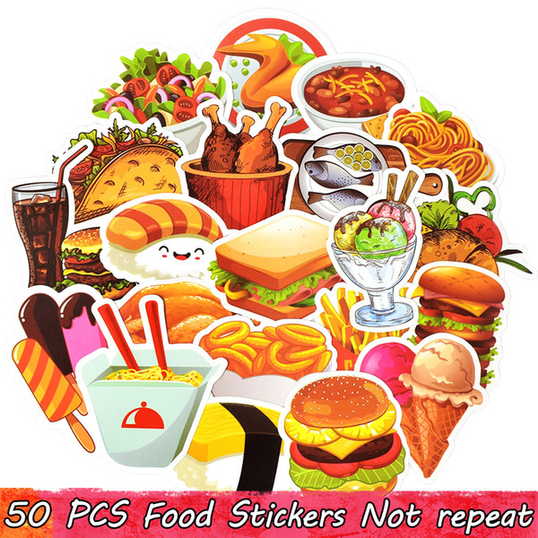 50 PCS Delicious Food Stickers Decals for Home Party Decor DIY Laptop Skateboard Luggage Fridge Water Bottle Bike Car Gifts Toys for People