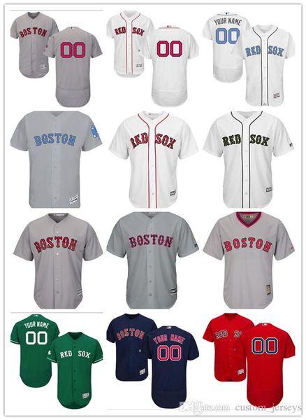 personnalisé Hommes Femmes Jeunes Maillot Majestic Red Sox à Personnaliser # 00 Tous vos nom et numéro Accueil Maillots de baseball bleus rouges
