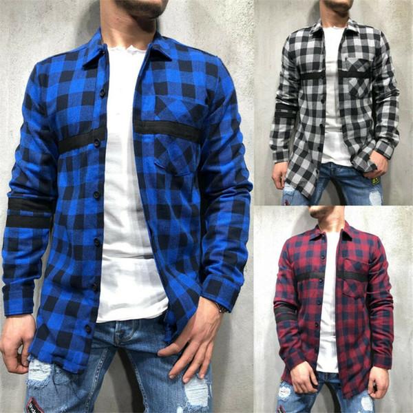 Erkek Fırçalı Pazen Kontrol Gömlek Uzun Kollu Ekose Bluz Erkek Ekose Casual Üst Giyim