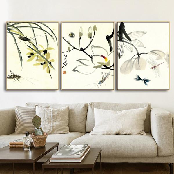 Immagini Fiori Qi Baishi poster da parete Stampa trasferimenti su tela pittura Calligrafia decorativo per Soggiorno Camera da letto Home Decor senza telaio