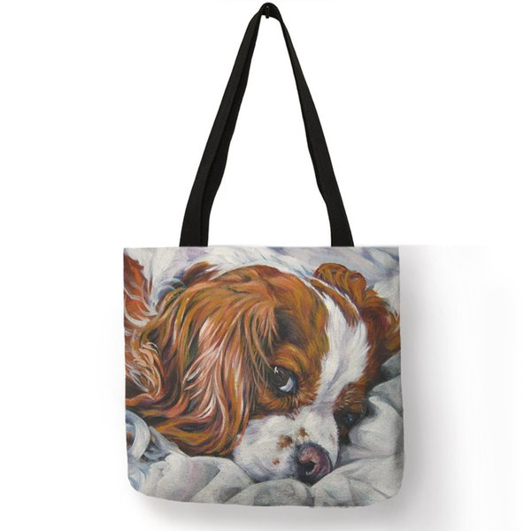Women Handbag Charles Spaniel Oil Painting Print Tote Bag Lady Girls Office School Travel Shoulder Bag Reusable Shopping Bags