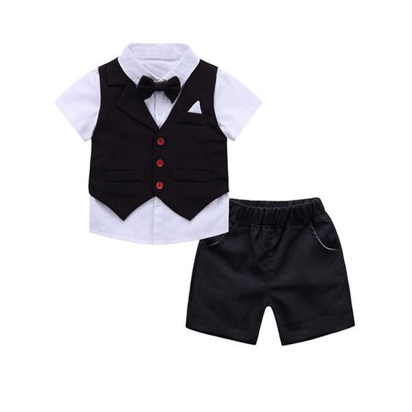 3 Pcs Kids Boys Suit Set Summer Boys Wedding Party Clothing Children Short Sleeve Tshirt +vest+ Shorts Clothes Set Suit 2-9 Year J190513