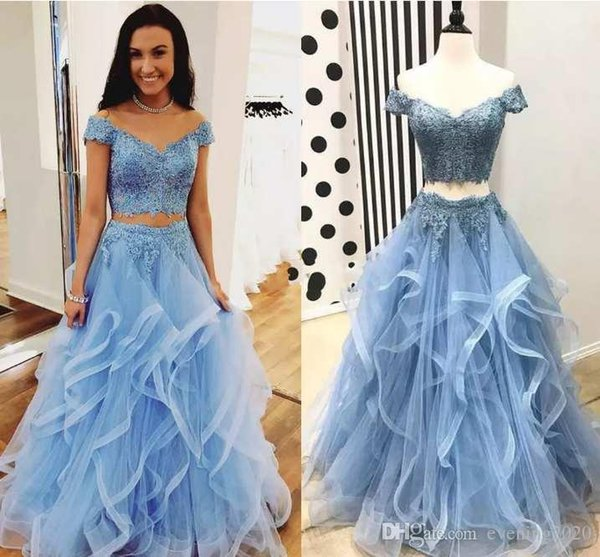 Светло-голубые платья выпускного вечера Две части Кружевные аппликации с открытыми плечами Онлайн Платья для особых случаев Изящные вечерние платья