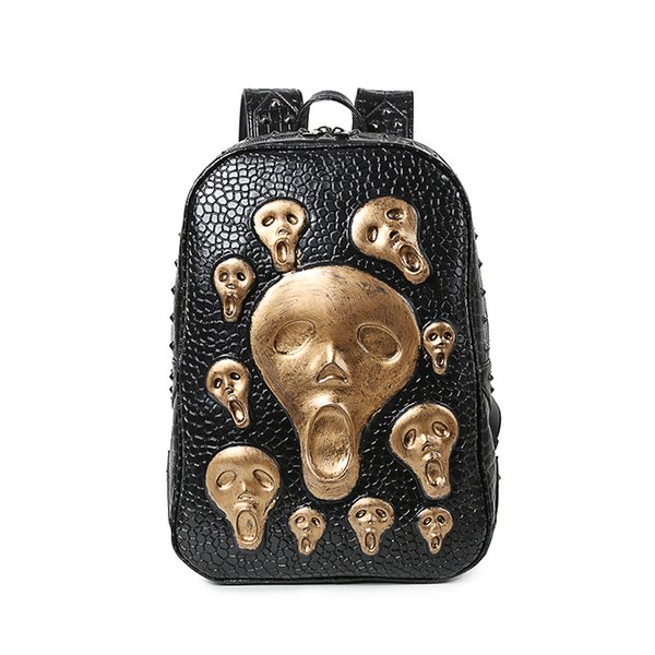 Women 's School 3d Skull Head Backpack Skeleton Synthetic Leather Laptop Student Laptop Rucksack
