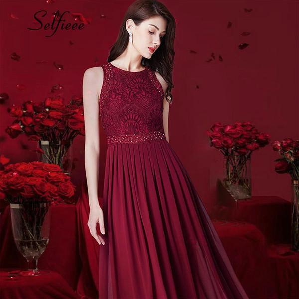 New Design Long Women Elegant A Line O Neck Sleeveless Lace Dresses Summer Beach Maxi Dress Vestido De Festa Longo Q190524