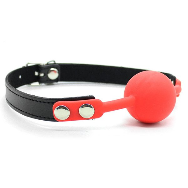 SM Open Mouth Gag Ball For Couples PU Leather Mouth Gag Bondage Slave Games Oral Fixation Stuffed Flirting Sex Toys For