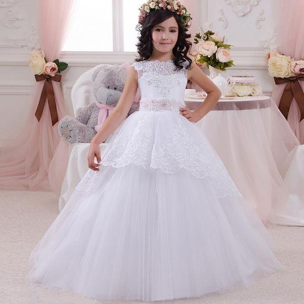 Arabic 2019 Floral Lace Flower Girl Dresses for Wedding Ball Gowns Child Pageant Dresses Long Train Beautiful Little Kids Robes de fête