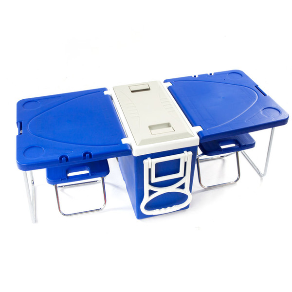 Outdoor Picnic Foldable Multi-function Rolling Cooler Blue
