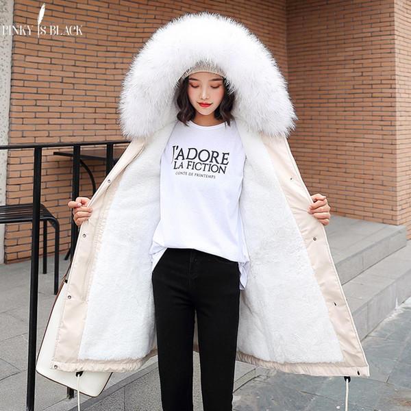 PinkyIsBlack -30 градусов Новое прибытие 2019 зимы женщин куртки с капюшоном меховой воротник Женщины Длинные зимние пальто ветровки с мехом Подкладка