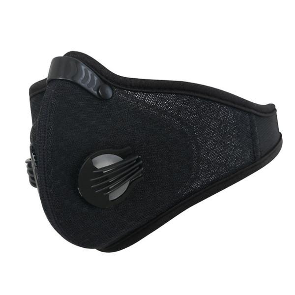 Masque de charbon actif anti-poussière Filtre en feuille de coton supplémentaire et vannes pour gaz d'échappement pour les activités de cyclisme