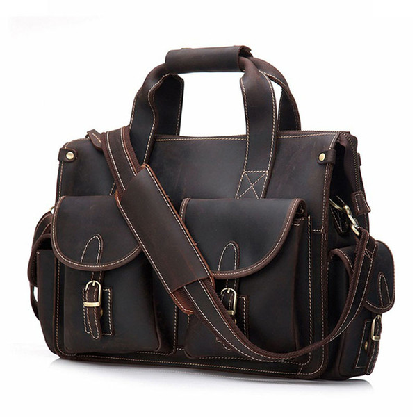 BOLEKE Vintage Men's Cow Genuine Leather Briefcase Crazy Horse Leather Messenger Bag Male Laptop Bag Men Business Travel