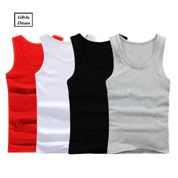 3pcs/lot Mens Sleeveless Top Muscle Vest Cotton Undershirts O-neck Gymclothing Asian Size Casual Shirt Underwear Q190417