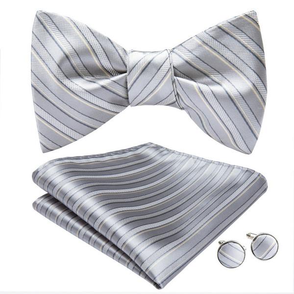 Hi-Tie Sliver Stripe Mens Tie Bowtie Woven With Handkerchief Cufflinks Wedding Dress Fashion Freeing Shipping AL-011