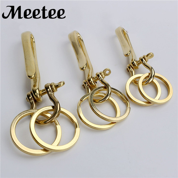 Solid Brass Metal D Shackle U-shape Hooks Clasp Ring Keychain Paracord Bracelet Buckle Key Pouch Belt Fastener DIY Leather KY2154