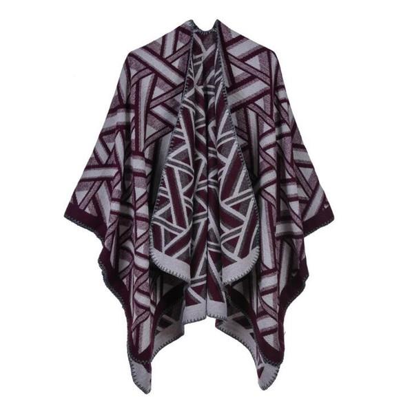Дизайнер шарф геометрический треугольник марки кашемир сплит шаль многоцветный дамы толстый плащ теплый плащ оптом 081265