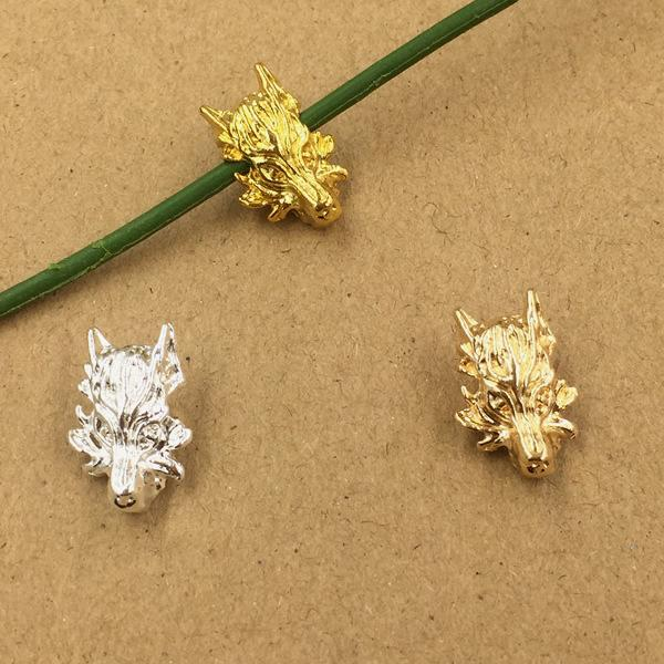 100pcs 18*12mm Gold Silver wolf kylin bead charms metal pendants Alloy DIY Jewelry Accessories Headwear Hair Jewelry Handicraft Material