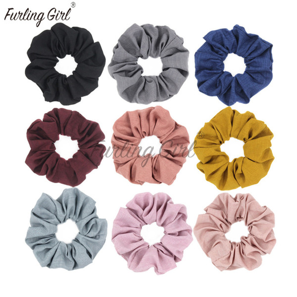 Furling Girl 1 PC Cotton and Linen Fabric Elastic Hair Bands Solid Colors Hair Scrunchies Bun Holder for Woman Ties