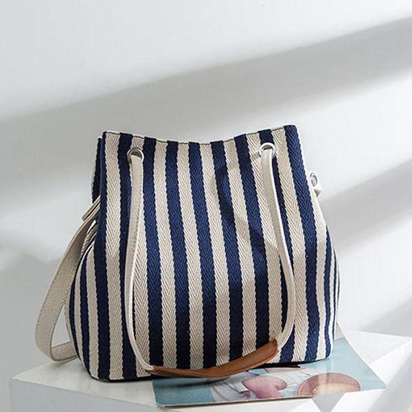 women handbag canvas shoulder bag thin stripe printing shopping bags high-capacity all-match Beach shopping bag