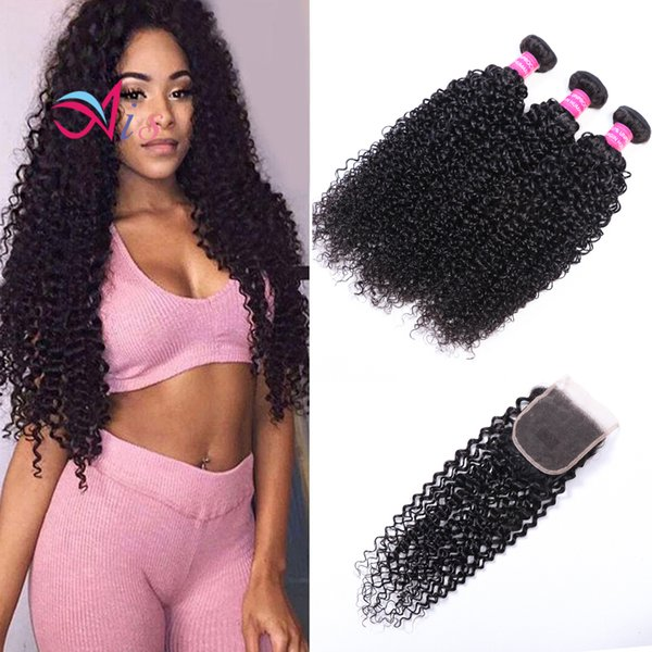 Ais Hair Brazilian Virgin Human Hair Weaves Extensions Curly Natual 1B Color 3 Bundles With Closure 4*4 Unprocessed High Quality