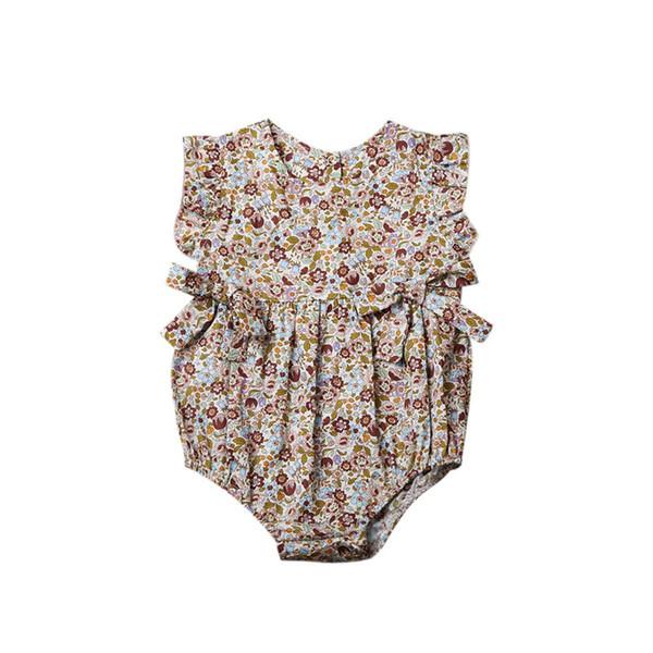 Must-have New Fashions Designer Baby Girls Ropa Romper Correa Floral Manga Corta Mono Recién Nacido Newborn Romper Onesies 0-2T