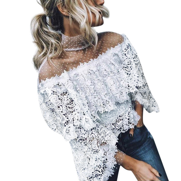 Feitong Women Blouses Spring Summer Sexy Flare Sleeve Shirts Printed Point Tops Blouses Women Clothing Feminine Blusas Plus Size