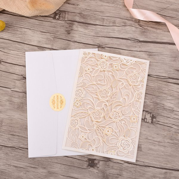 10pcs/lot Elegant Wedding Invitations Card White Set Vertical Blank Save the Date Hollow Bridal Shower Marriage Invitations