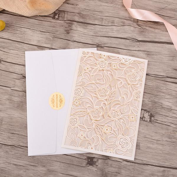 Elegant Wedding Invitations Card White Set Vertical Blank Save The Date Hollow Bridal Shower Marriage Invitations Birthday Card Designs Birthday Card