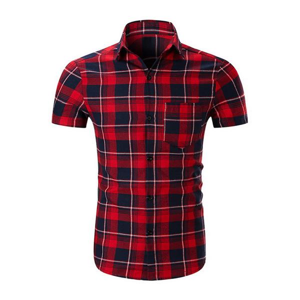 Laamei High Quality Brand 2019 Spring Summer Men Shirt Stripe Grid Dress Shirt Short Sleeve Slim Fit Camisa Casual Homme Shirts