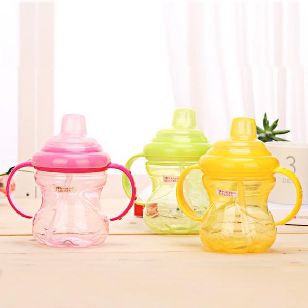 Bebé Sippy Copas Niños botella de agua Bebida manijas de paja