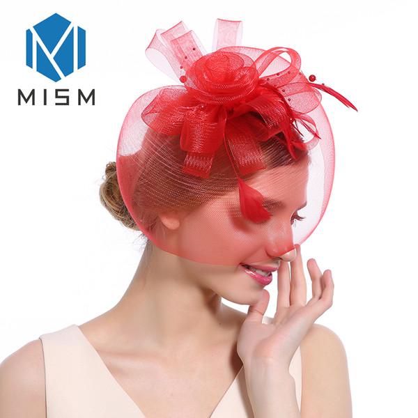 M MISM Women Fascinator Veil Hair Accessories Feather Flower Bead Cocktail Party Hair Clip Elegant Vintage Fancy Bands Hoop